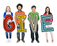 Group of People Holding Letter with Give Concepts Stock Images