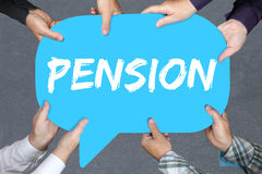 Group of people holding pension retirement business concept Stock Images