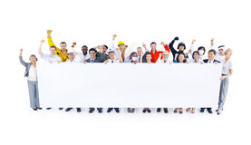 Group of People Holding Placard Stock Image