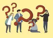 A group of people holding question mark signs illustration royalty free illustration