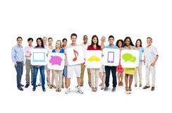 Group of People Holding Social Media Placards Stock Image