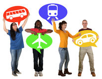 Group of people holding speech bubbles choosing bus, train, car Royalty Free Stock Images