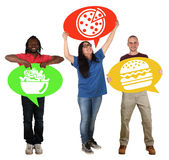 Group of people holding speech bubbles choosing pizza, salad or Stock Image