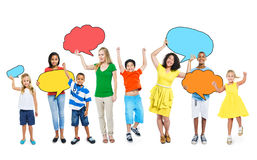 Group of People Holding Speech Bubbles Royalty Free Stock Photos