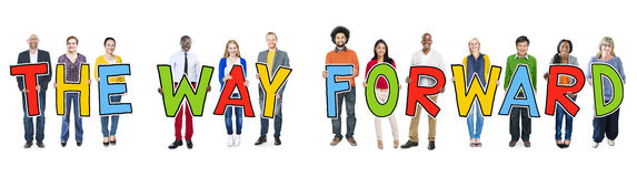 Group of People Holding Text The Way Forward Stock Image