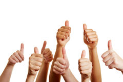 Group of people holding thumbs up Stock Image