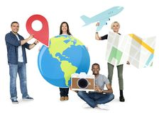 Group of people holding traveling icons Royalty Free Stock Photography