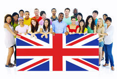 Group of People Holding United Kingdom Board. Large Group of People Holding United Kingdom Board royalty free stock images