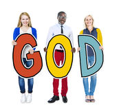 Group of People Holding the word God Stock Photos