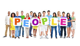 Group of People Holding The Word People stock photos