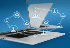 Group of people icons connected to network and Royalty Free Stock Photos