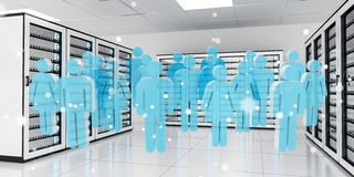 Group of people icons flying over server room data center 3D ren Stock Photo