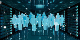 Group of people icons flying over server room data center 3D ren Royalty Free Stock Photography