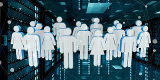 Group of people icons flying over server room data center 3D ren Royalty Free Stock Photos