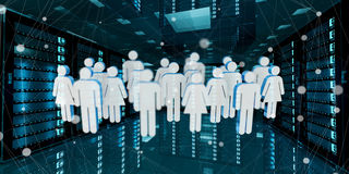 Group of people icons flying over server room data center 3D ren Royalty Free Stock Image
