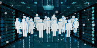 Group of people icons flying over server room data center 3D ren Stock Images