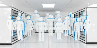 Group of people icons flying over server room data center 3D ren. White and blue group of people icons flying over server room data center 3D rendering Stock Photography