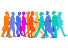 Group of people. An illustration of a colorful group of people in movement Royalty Free Stock Photo