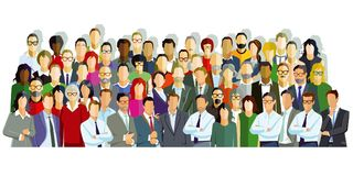 Group of people illustration. Colorful illustration of people together in a cohesive posed group, isolated on a white background Royalty Free Stock Photography