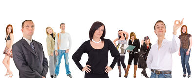 Group of people isolated over white.  Royalty Free Stock Images