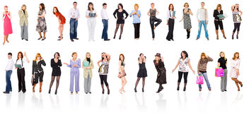 Group of people isolated over white Stock Images
