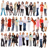 Group of people isolated over white.  Stock Images