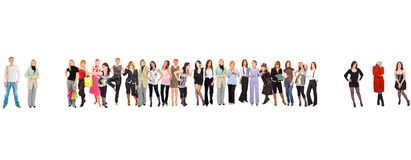 Group of people isolated over white.  Stock Photography