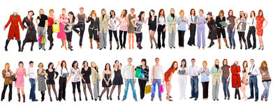 Group of people isolated over white.  Stock Photos