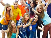 Group people isolated thumb up. Stock Photos