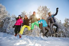 Group of people in jump Stock Photos