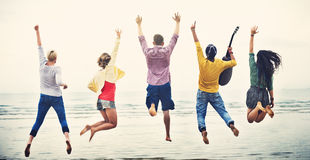 Group Of People Jumping Concept stock photography