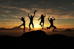 Group of people jumping Royalty Free Stock Photos