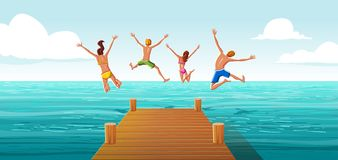 Group of people jumping from wooden pier into the water. Family having fun jumping in the sea water. N stock illustration