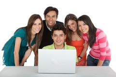 Group of people with a laptop Stock Image
