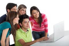 Group of people with a laptop Royalty Free Stock Photo