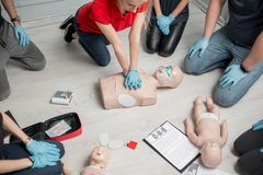 First aid training. Group of people learning how to make first aid heart compressions with dummies during the training indoors stock images