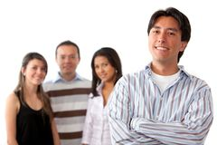 Group of people led by a man Royalty Free Stock Photo
