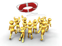 Group of people and lifebouy Stock Photo