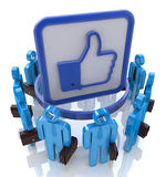 Group of people with Like symbol. Social network c. Oncept in the design of information related to internet Stock Photography