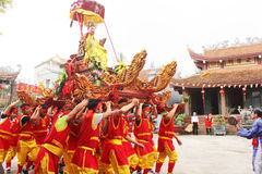 Group of people lion dance on the streets Stock Photography