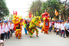 Group of people lion dance on the streets Royalty Free Stock Photo