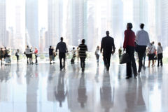 Group of people in the lobby business center Royalty Free Stock Photos