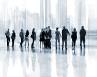 Group of people in the lobby business center Stock Images