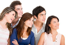Group of people looking up Stock Photo