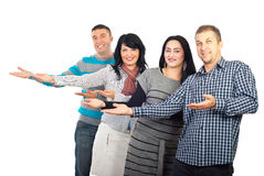Group of people making presentation royalty free stock photography