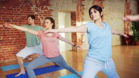 Group of people making yoga exercises in gym stock video footage