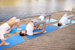 Group of people making yoga exercises outdoors Stock Photography