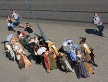 Group of people in medieval clothes in Dresden Royalty Free Stock Images