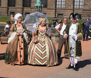 Group of people in medieval clothes in Dresden Royalty Free Stock Image
