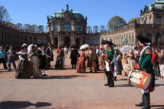 Group of people in medieval clothes in Dresden Stock Photo